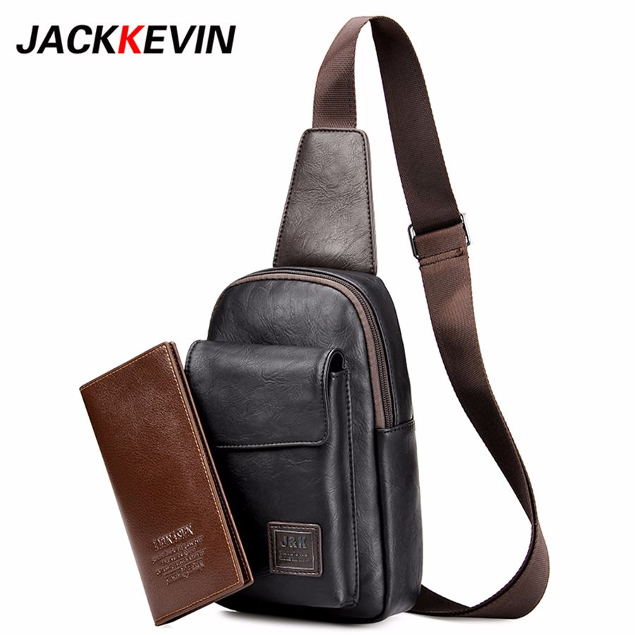 Men's Fashion Retro PU Foot Leisure Travel Bag Shoulder Messenger Bag Waterproof Wear Chest Harness Chest Pocket