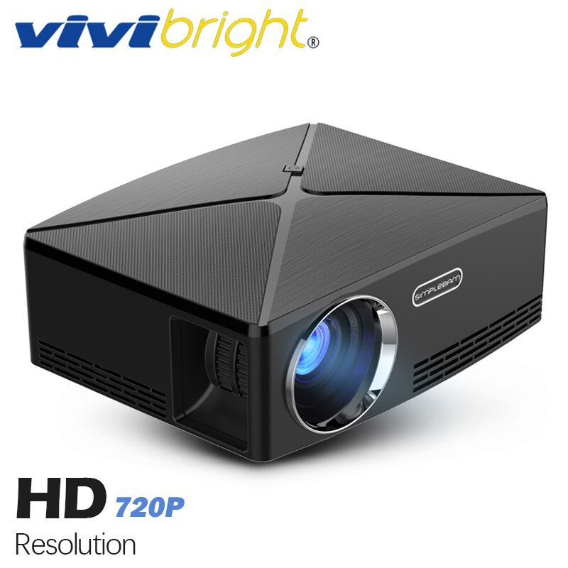 VIVIBRIGHT HD MINI Projector C80. 1280x720 Video Proyector, Support 1080P (<font><b>Optional</b></font> C80 UP. Android 6 Beamer, WIFI, Bluetooth)