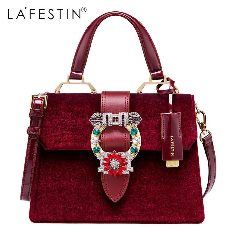 LAFESTIN Women Handbag Shoulder Bag Designer Lock Diamonds Famous Velvet Luxury Totes Multifunction Bag 2018 New brands bolsa