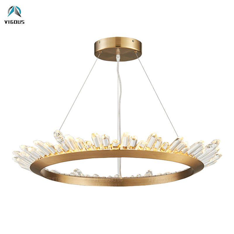 Post Moderne Glanz Kristall Led-Chip Runde Anhänger Licht Luminaria Pinsel Gold/Platte Hrome/Matte Schwarz Pendelleuchte auszusetzen Lampe