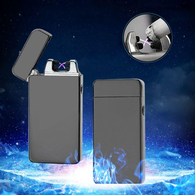 Luxe Double Arc Électronique USB Briquet Sans Flamme Coupe-Vent Cigarette Briquet Plasma Rechargeable Léger Fumeurs Gadget pour hommes