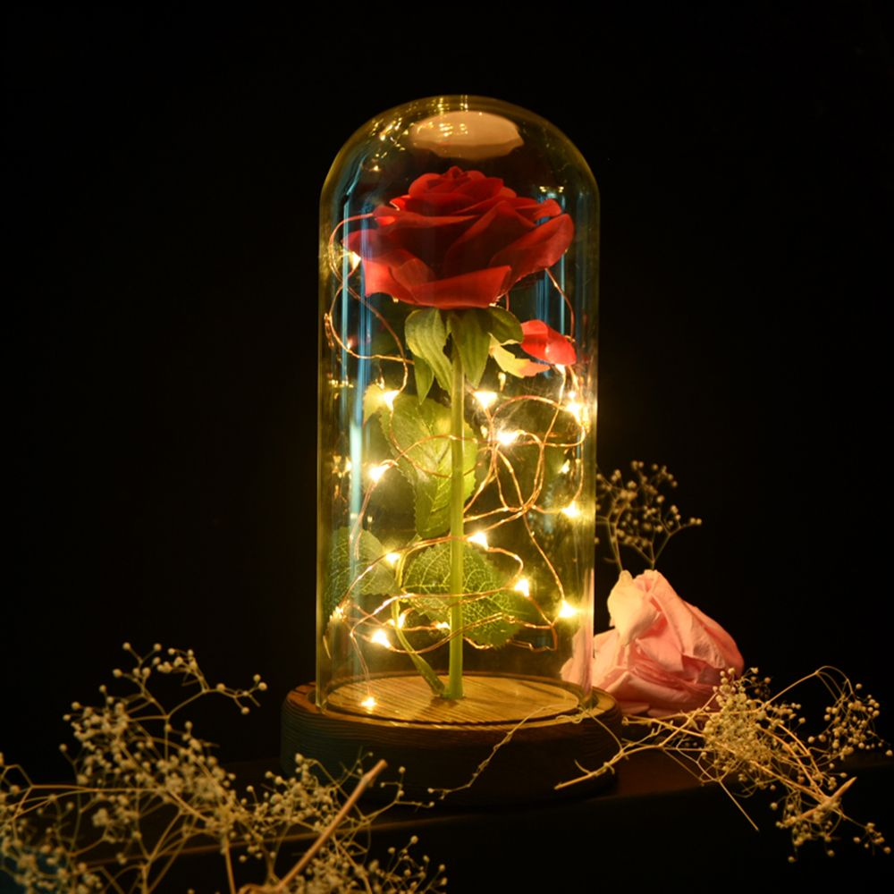 2018 Beauty and the Beast Red Artificial Flowers Rose with LED Light Creative Birthday Valentine's Gifts Decorations for Home