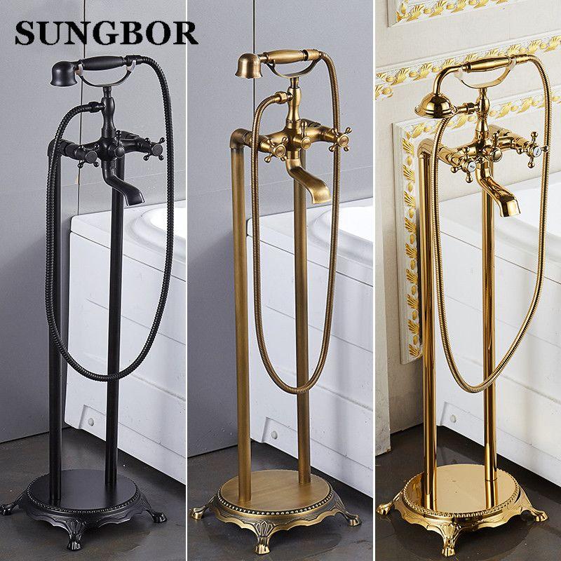 Bad Boden stand badewanne wasserhahn Öl gebürstet schwarz bad stehen zusammen tap Luxus freistehende bronze messing mixer LD-8118K