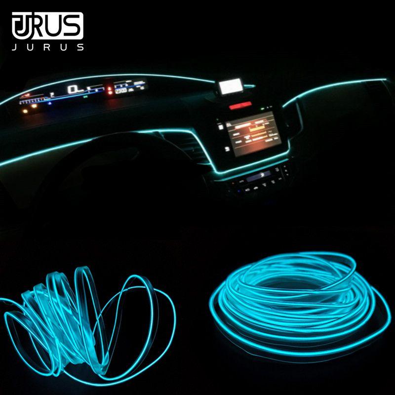 JURUS 5M voiture intérieur lumière lumières ambiantes voiture El froid néon lumière fil ligne tableau de bord Led bande 12V allume-cigare onduleur