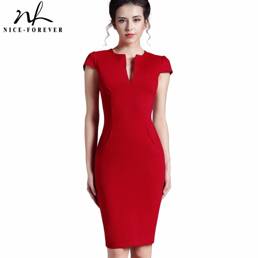 Nice-forever Office Women Vintage Summer Solid Deep V neck Zipper <font><b>Back</b></font> Formal Stretch Pencil work Bodycon Pocket Dress 521