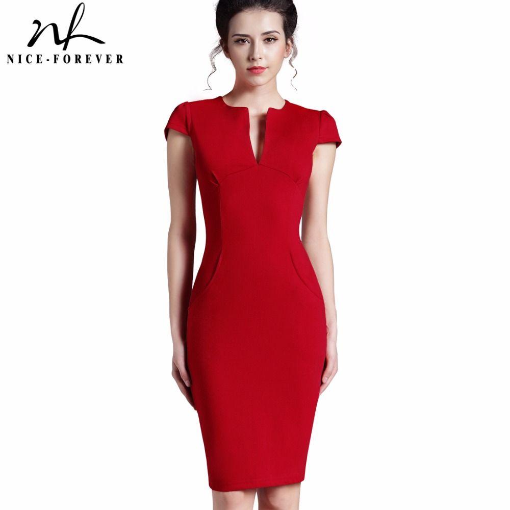 Nice-forever bureau femmes Vintage été solide profonde col en V Zipper dos formel Stretch crayon travail moulante poche robe 521