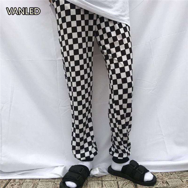 Harajuku Punk Casual Plaid Slacks Checkboard Trousers Unisex <font><b>Couple</b></font> Loose Fashion Pants