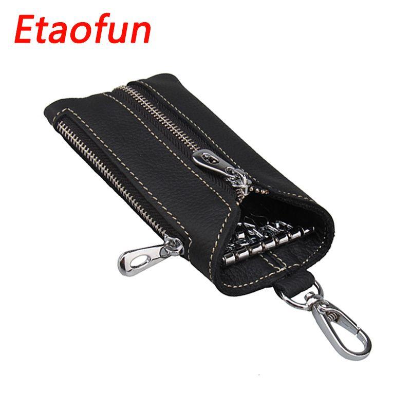 Etaofun Vintage en cuir véritable clés portefeuille femmes porte-clés couvre fermeture éclair porte-clés sac hommes porte-clés femme clés organisateur