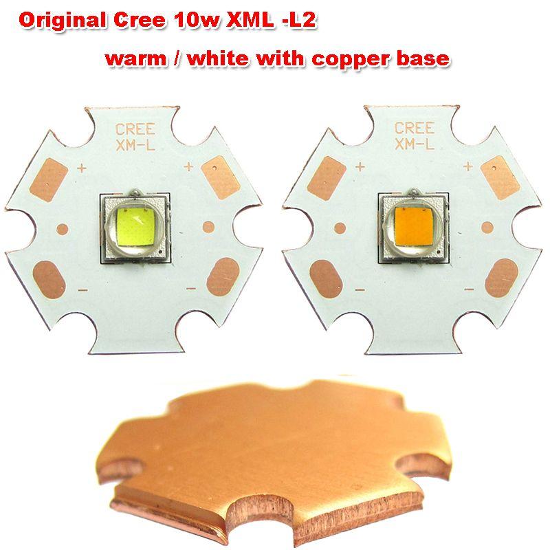 1 pièces puissance originale CREE 10 w XM-L L2 chaud/blanc avec 20mm cuivre Base puce LED lampe lumière pour lampe de poche LED torche lumière