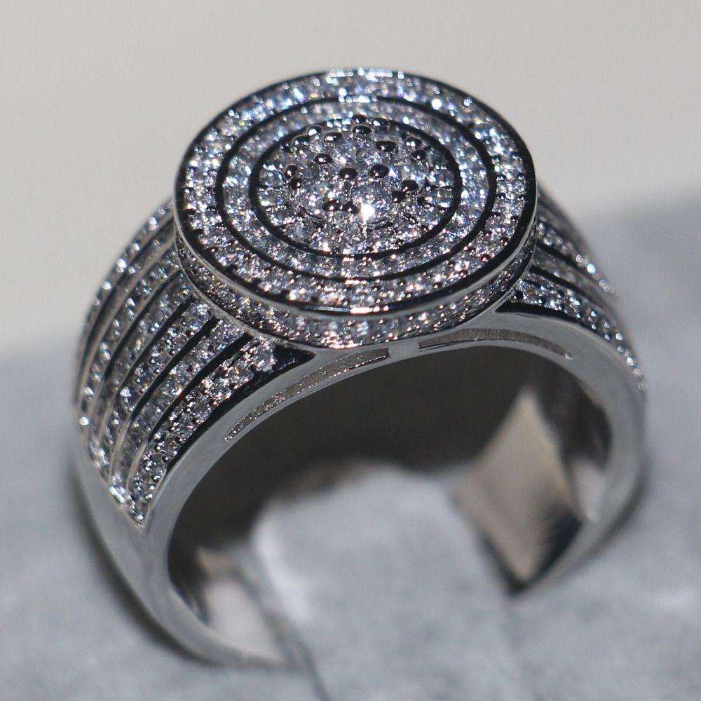 Majestic Sensation Jewelry Для женщин мужчин кольцо Pave 240 шт. AAAAA Циркон CZ стерлингового серебра 925 Обручение обручальное кольцо