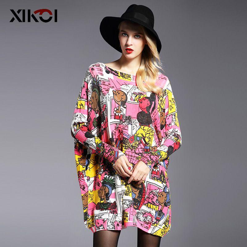 XIKOI Casual Femmes Chandail De Mode Enfants Imprimer Vêtements Dames de Femmes Long Manches Chauve-Souris Pulls Slash Cou Pulls Femme