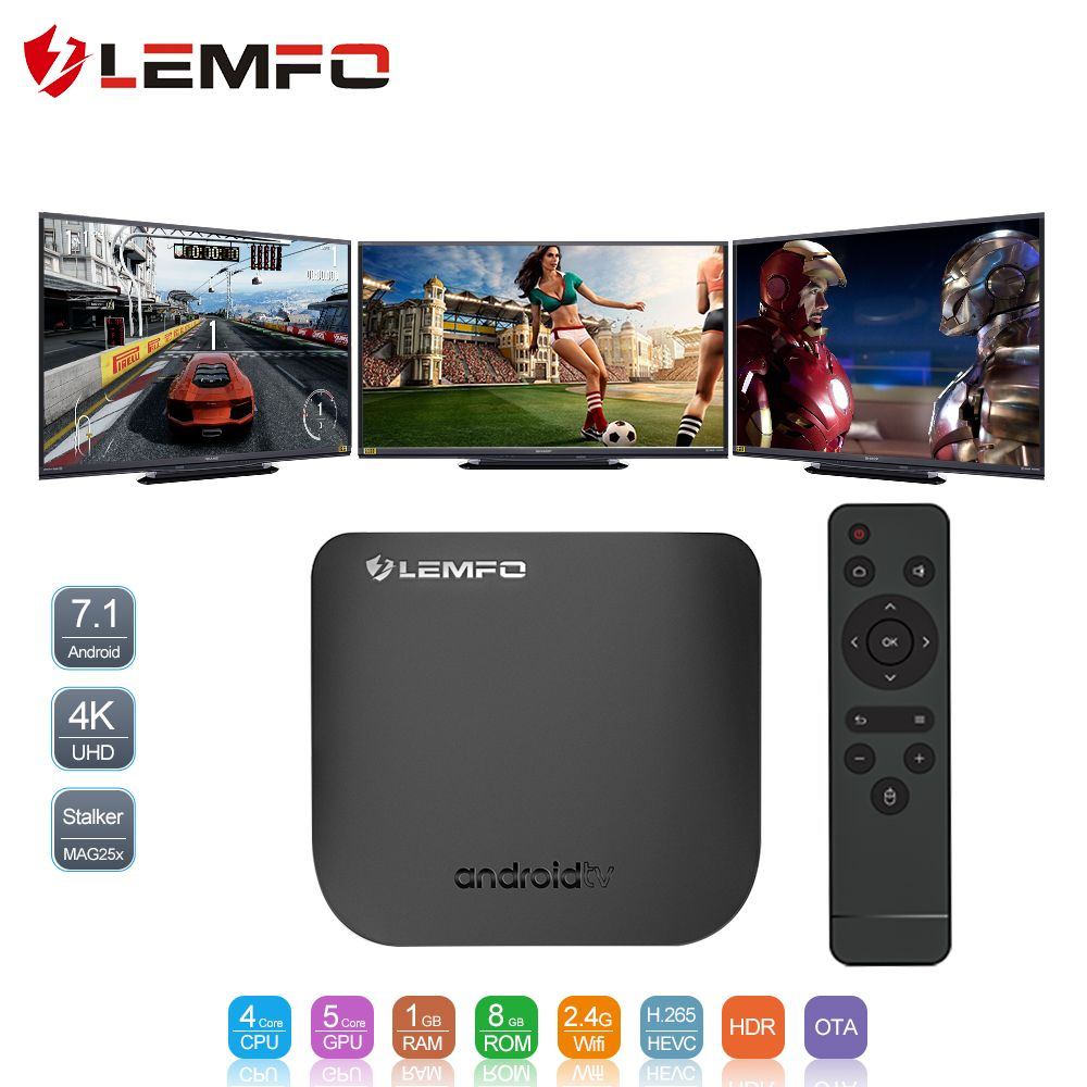 LEMFO Mini Smart TV Box Android 7.1 Octa Core 1GB 8GB 4K 2.4G WIFI OTA 2018 Football Cup TV Set Top Box