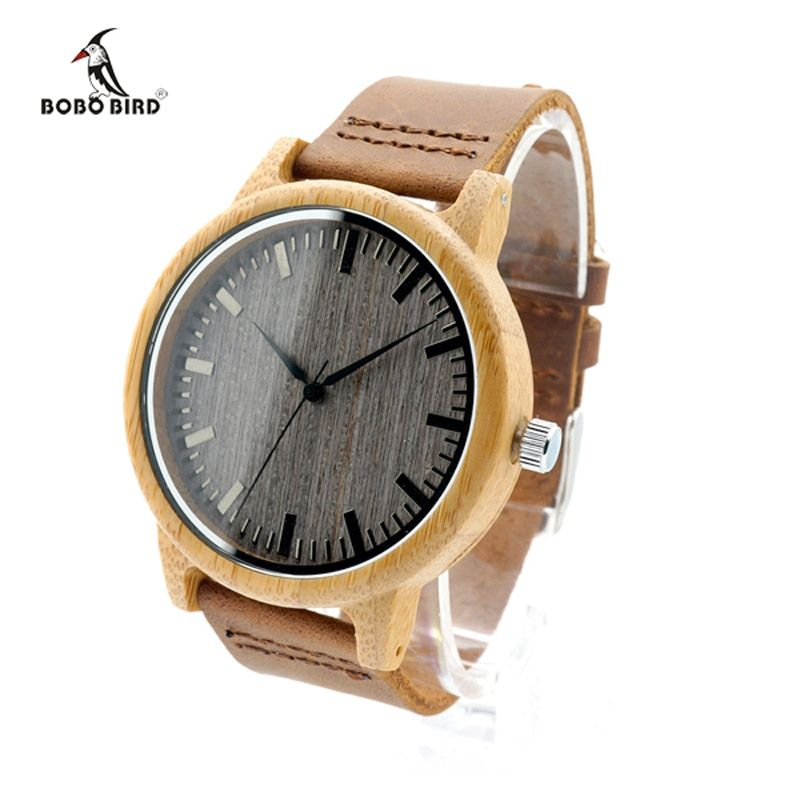 2017 Brand BOBO BIRD Quartz Leather Men Bamboo Watches Luxury Wristwatch Male Wood Watch relojes <font><b>hombre</b></font> Relogio Masculino C-A18