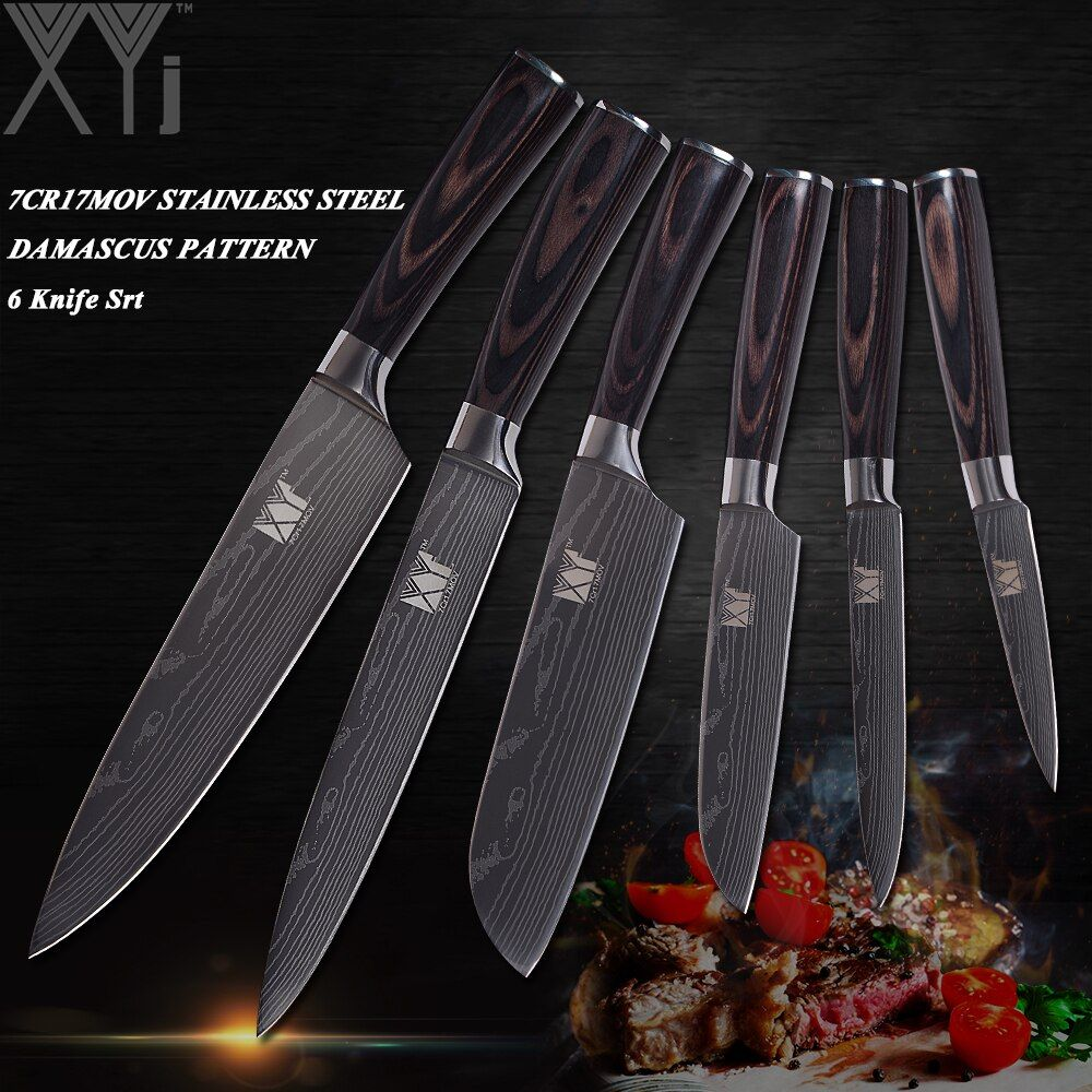 XYj Damascus Veins Stainless Steel Knife Sets High Carbon Blade Wood Handle Kitchen Knives Set Exquisite Kitchen Gift 6 Pcs Set