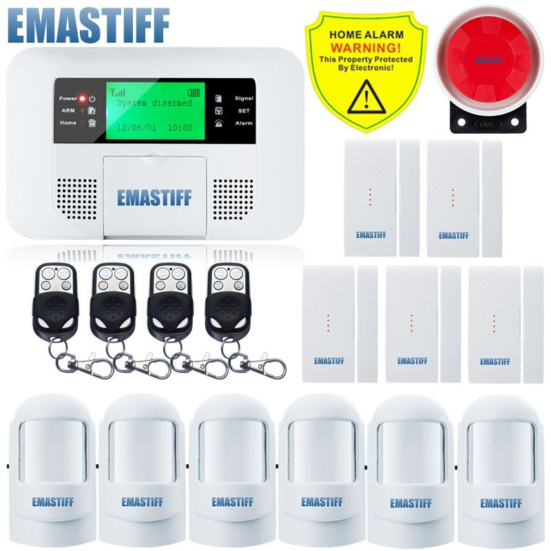 Free Shipping!Quad-band G4B GSM PSTN SIM Home security Alarm system Menu screen LCD Keyboard alarm English/Russian/Spanish Voice