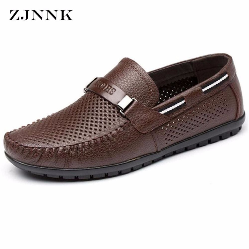 ZJNNK Genuine Leather Summer Shoes Men Flats Loafers Breathable Casual Chaussure Homme Real Leather Driver Men Moccasins Shoes