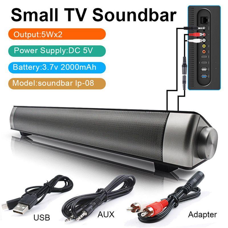 LP-08 Sound Bar Wireless Subwoof Bluetooth Speaker Enhanced TV Remote Control Soundbar Speaker Card Plugging Bluetooth Speaker
