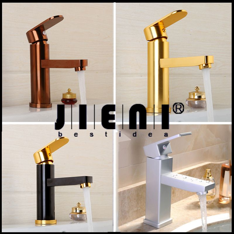 Luxury Bathroom Faucet Black Gold-plated Bathroom Faucet Rose Gold Plated Space aluminum Basin Sink Faucet Copper Gold Mixer Tap