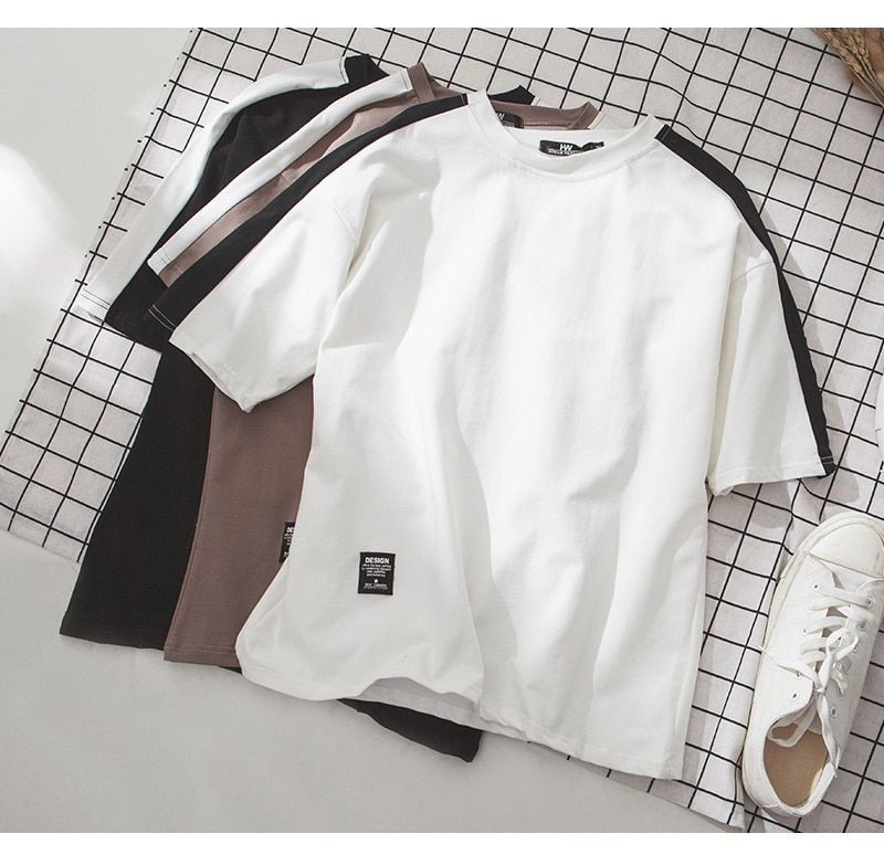 Summer men's short sleeves 2017 new T-shirt men's men's round collar students loose 5 - sleeve Korean style embroidery clothes.