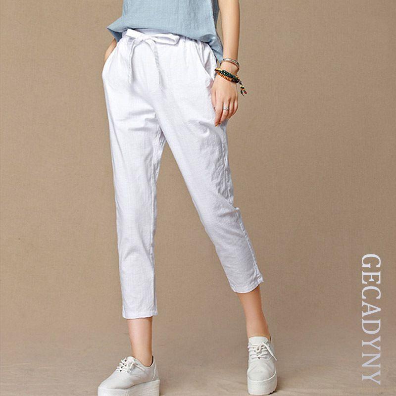 2019 été nouveau pantalons décontractés capris femmes mode coton lin cultures pantalon taille élastique harem pantalon taille 4XL