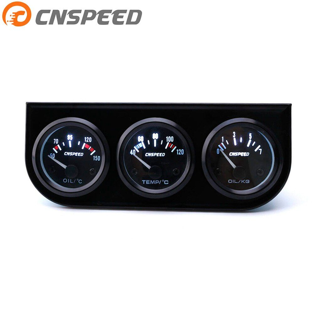 CNSPEED 52MM 3 In 1 Oil temp gauge Water temp Oil Pressure Gauge Kit Car Meter Triple gauge kit YC101268