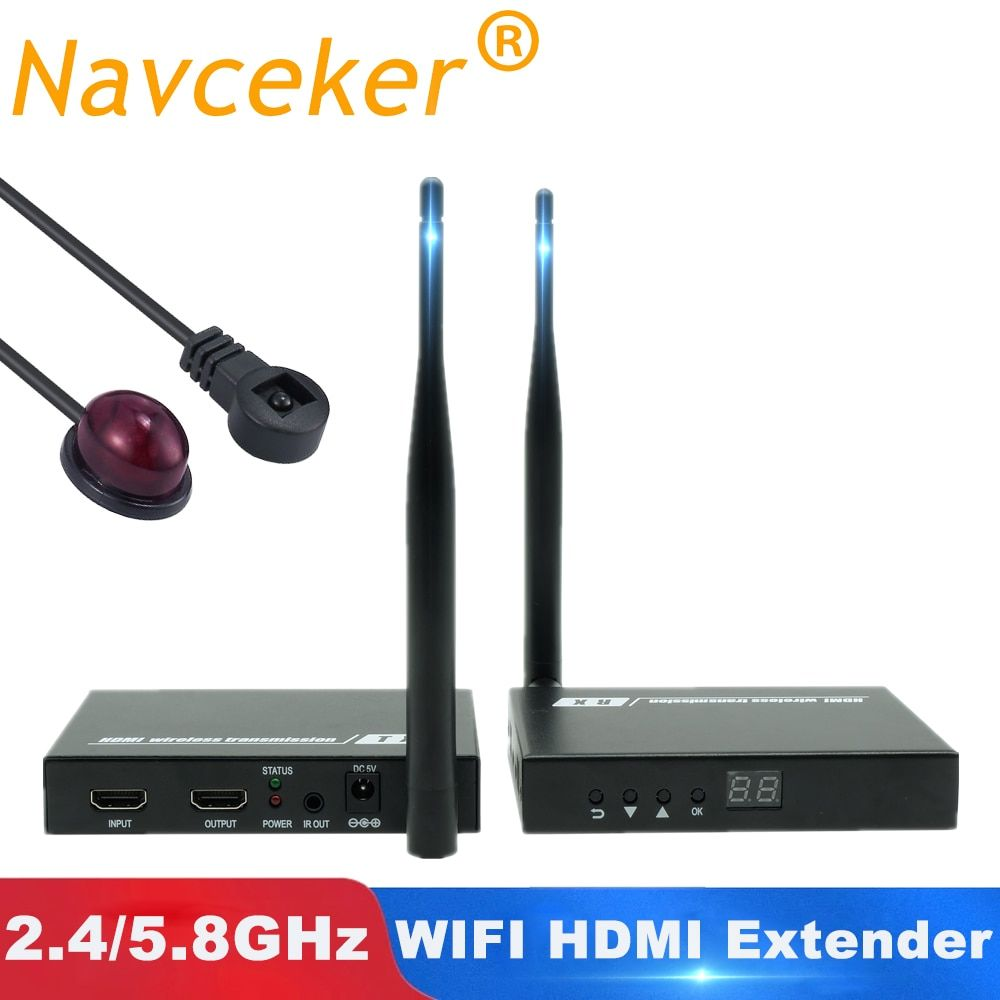 2019 5GHz Wireless-HDMI Übertragung Extender Unterstützung IR HDMI Wireless Transmitter Receiver Kit HD 1080P WIFI HDMI Sender