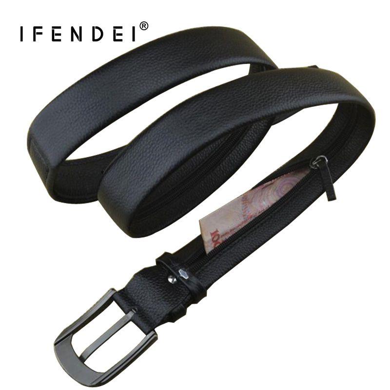 IFENDEI argent ceinture en cuir pour hommes marque de luxe ceinture noir Designer Secret poche sangle caché argent véritable bracelet en cuir