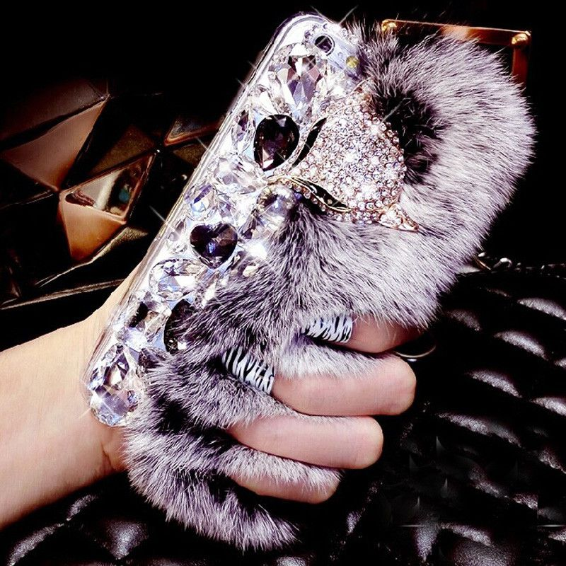 LANCASE For iPhone 6S Case Rabbit Hair Fur Fox Head Bling Diamond Rhinestone TPU Case For iPhone 6 6S Plus 7 Plus 5S 5 SE Cover