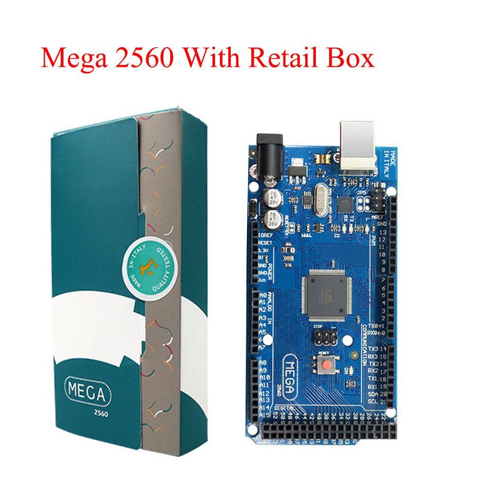 Mega 2560 R3 Board 2012 Version officielle avec puce ATMega 2560 ATMega16U2 pour pilote intégré Arduino avec boîte de vente d'origine