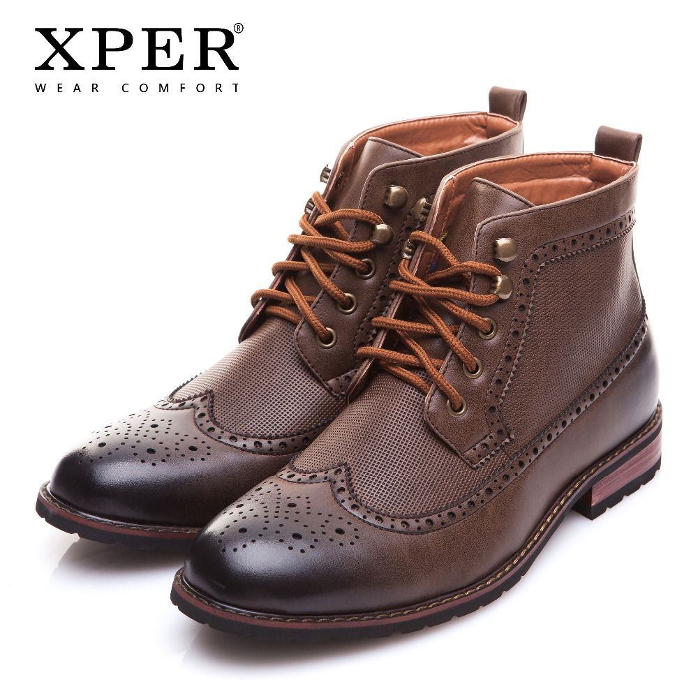 XPER Brand New Men Shoes Spring Winter Men Boots Fashion Carved Male Lace-UP Shoes High-Cut Men Casual Shoes XAF86M60
