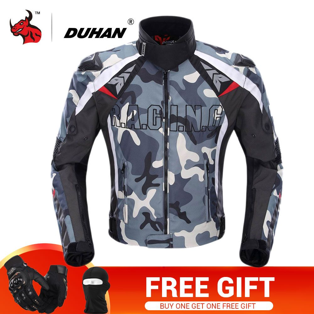 DUHAN Motorcycle Jacket Men Camouflage Motocross Off-Road Racing Jacket Protective Gear Moto Guards Motorcycle Protection