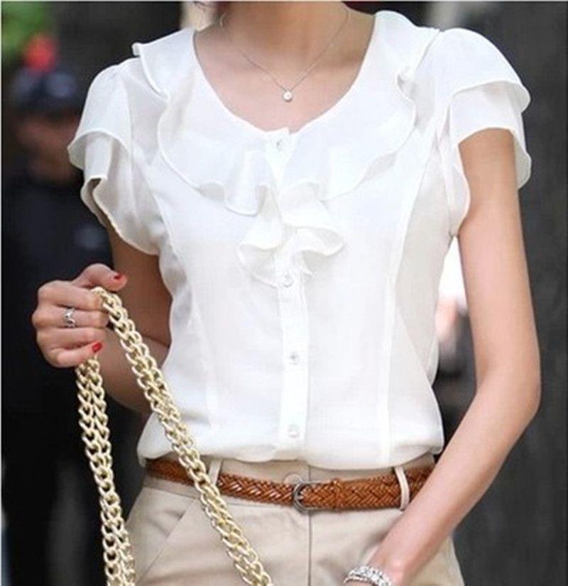 5XL grande taille New Summer Femmes Blusas De Mode courtes manches Ruches blouse en mousseline de soie Solide hauts blancs Blusas décontracté D'été Blouses