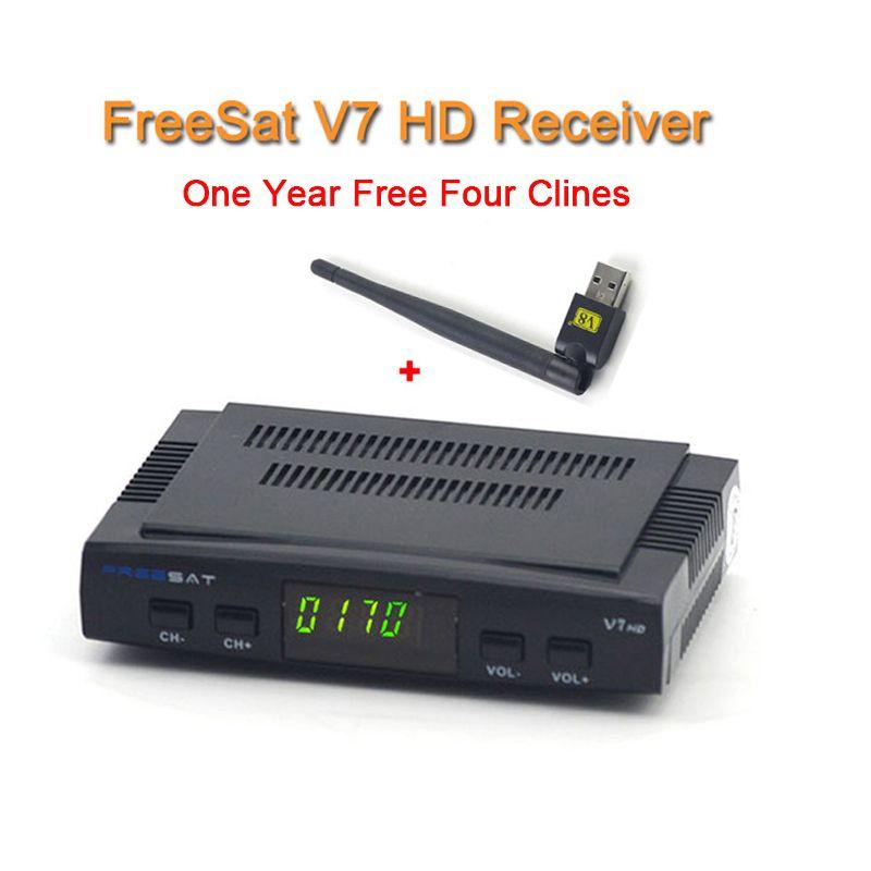 Digital tv satellite decoder Freesat V7 hd satellite receiver DVB-S2 HD+USB WIFI full powervu with 1 year Europe clines server