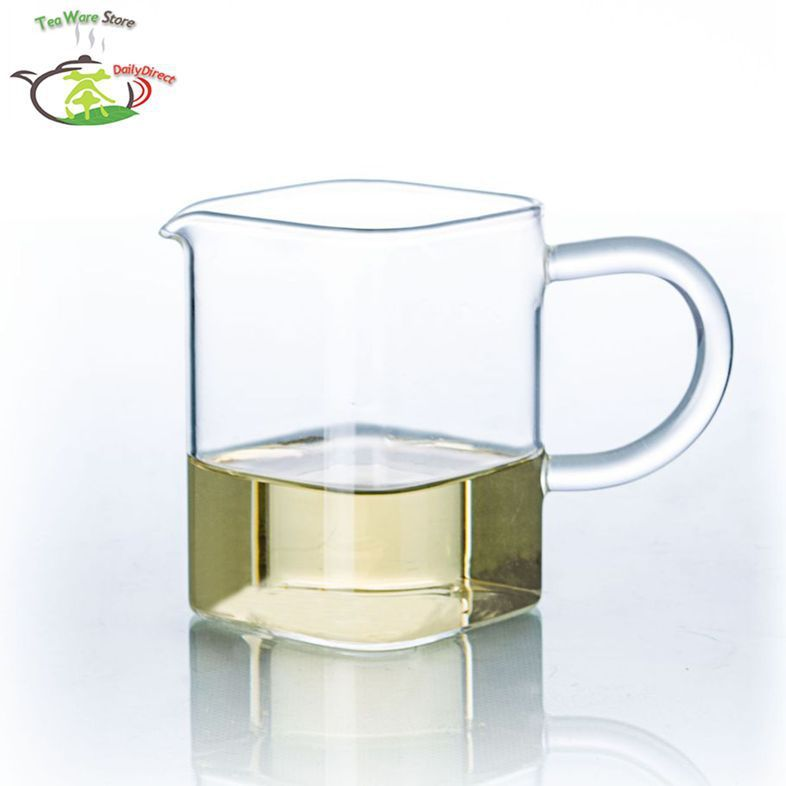 1x 6.76fl.oz/200ml Square Heat-Resisting Clear Glass Tea Pitcher Cha hai Gongdao Tea Cups Fair Mug