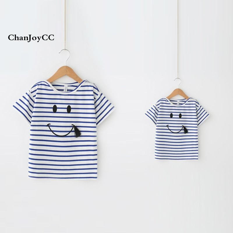 ChanJoyCC Family Matching Outfits T-shirt 2017New Mom Dad and Daughter Son Stripe Cotton100% Leisure Short Sleeve Kid T-shirt