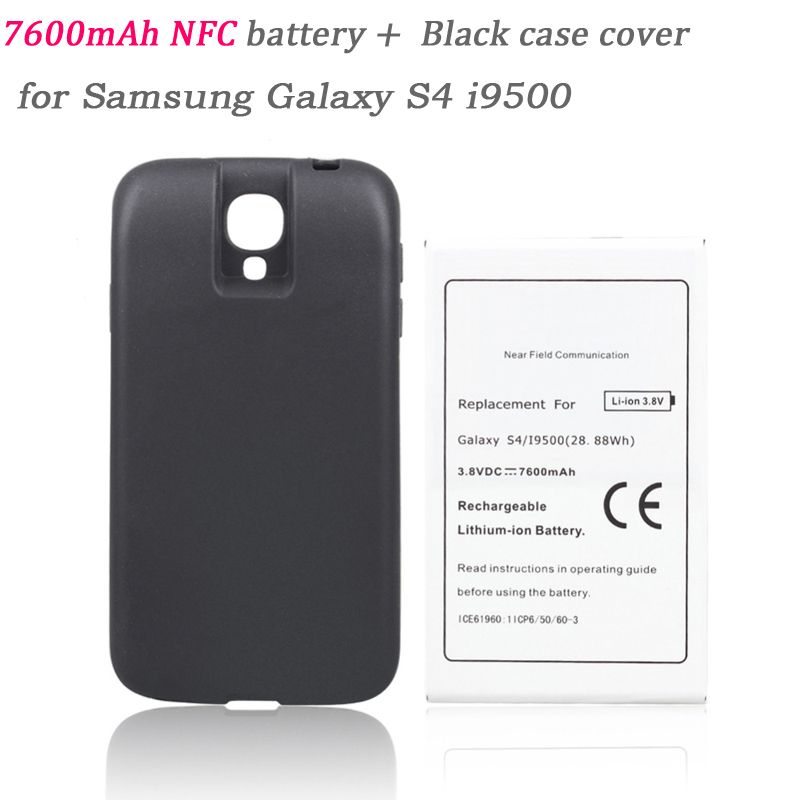 Batteria 7600mah Replacement NFC Battery Bateria +Back Cover for Samsung Galaxy S4 i9500 Phone Commercial Extend Thicker Battery