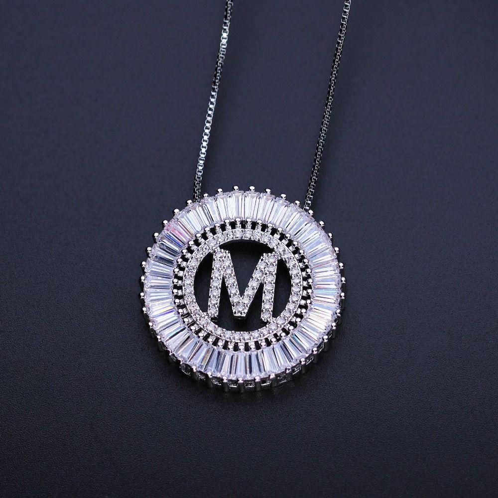 Mère cadeau Initiales Lettre pendentif collier Trapézoïdale rare cubique zircone hight qualité bijoux pour womenPGYTLE41