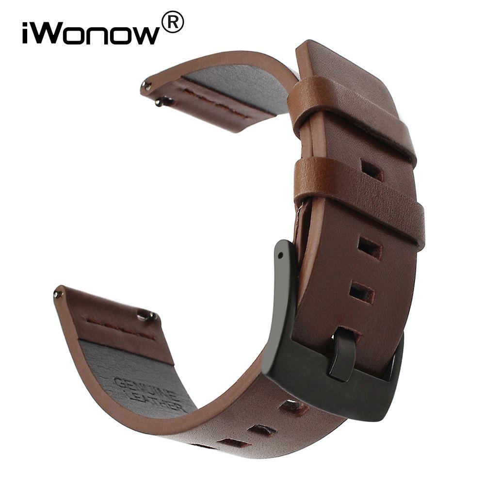Bracelet en cuir huileux italien 20mm 22mm pour montre Samsung Galaxy 42mm 46mm SM-R810/R800 bracelet de sport à dégagement rapide