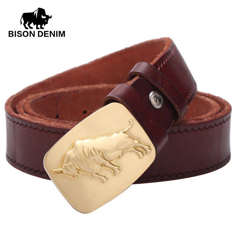 BISON DENIM 2017 Top Layer Genuine Leather Belt Vintage Alloy board buckle belt men Wavy stripes imprint W71029-1Z