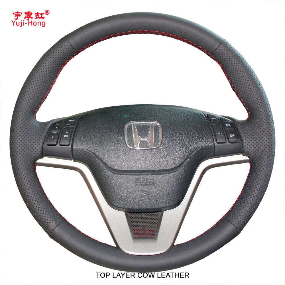 Yuji-Hong Top Layer Genuine Cow Leather Car Steering Wheel Covers Case for Honda CRV 2007-2011 CR-V Auto Hand-stitched Cover