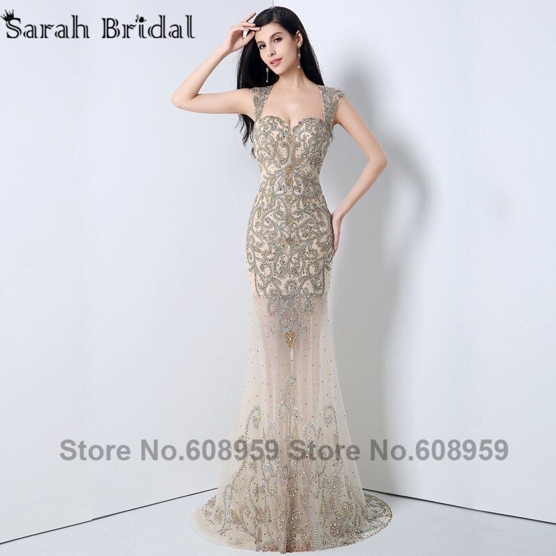 Luxury New Sparkling Crystal Nude Sweetheart Formal Evening Dresses 2018 Sheer Long Backless Prom Dresses Robe De Soiree YLN003