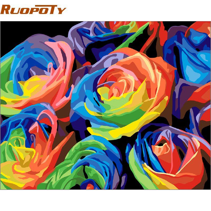 RUOPOTY cadre coloré fleur peinture à la main par numéros peint à la main abstraite mur Art photo toile peinture pour décor de mariage