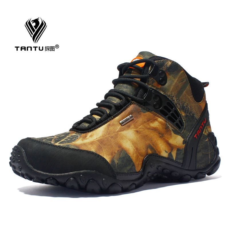 New waterproof canvas hiking shoes boots Anti-skid Wear resistant breathable fishing shoes climbing high shoes