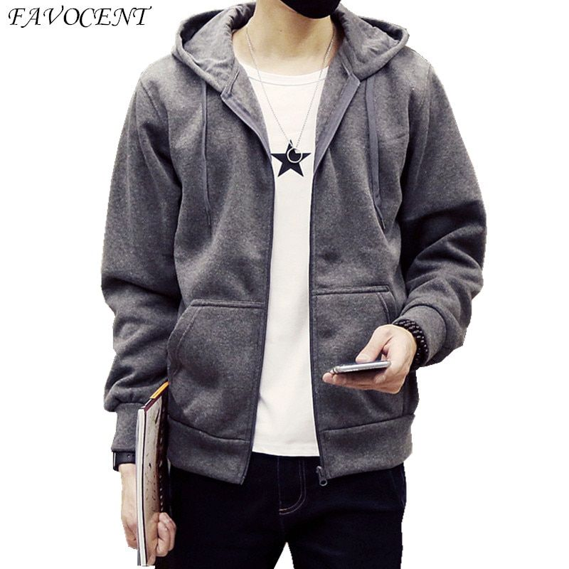 FAVOCENT new fashion 2018 men's loose hooded hoodies casual sportswear black and <font><b>white</b></font> blue color zipper hoodie free shipping