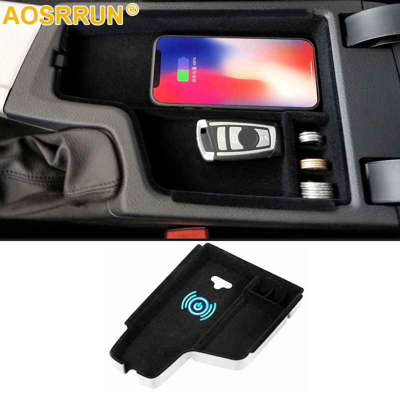 Mobile phone wireless charging in the middle of the store content box Car Accessories For BMW F30 F31 F32 F34 320 2012-2017 LHD
