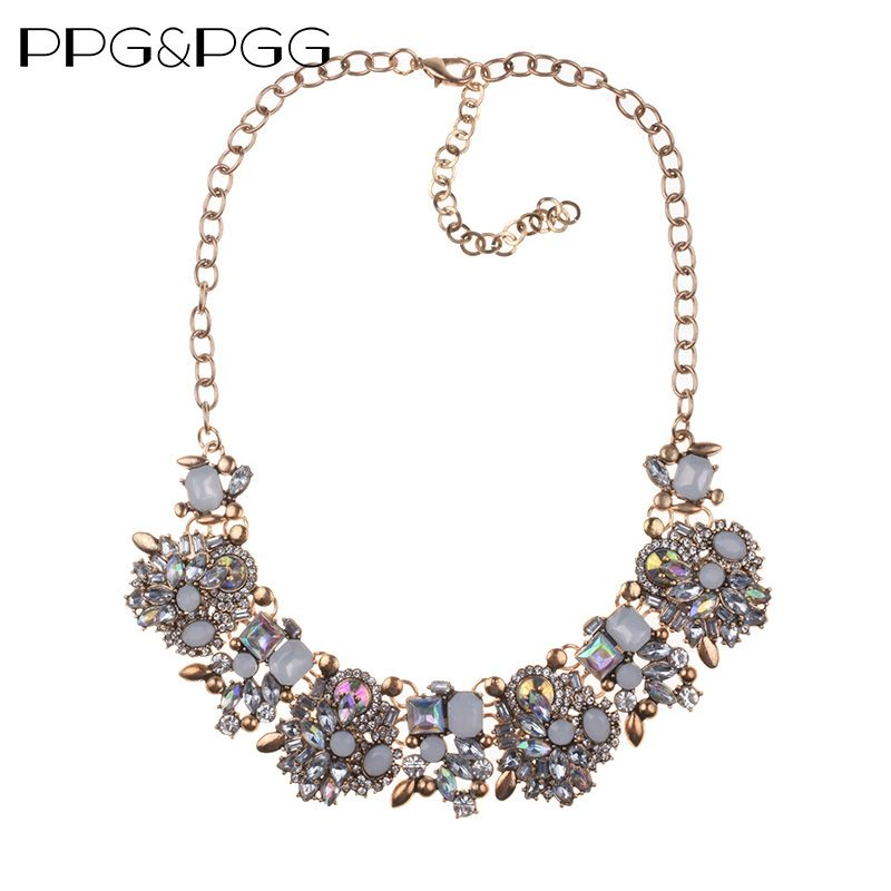 PPG&PGG 2017 NEW Z style Fashion Choker Neckless Unique collar pendants Statement Jewelry for Women Crystal Maxi necklaces