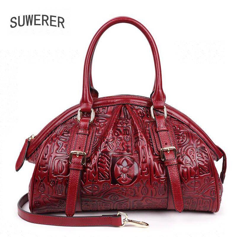 Genuine Leather handbag 201 new luxury embossed handbag Fashion Shoulder Messenger Bag Women's handbags