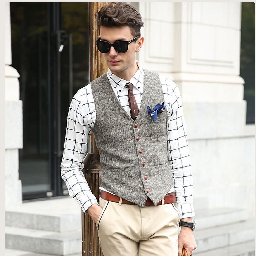 Showersmile Марка костюм жилет Для мужчин куртка без рукавов бежевый серый коричневый Винтаж твид жилет Мода Демисезонный плюс Размеры жилет