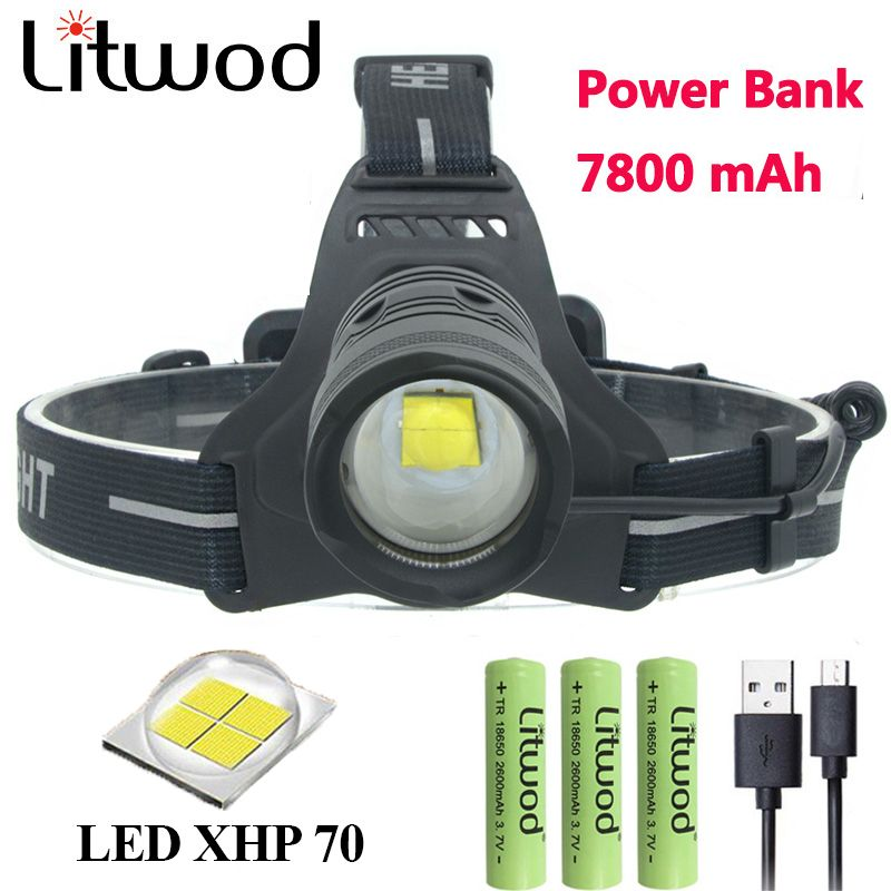 Litwod Z902808 32W chip XHP70 high power Led headlamp 42920lum powerful Headlight head lamp flashlight torch zoom Head light