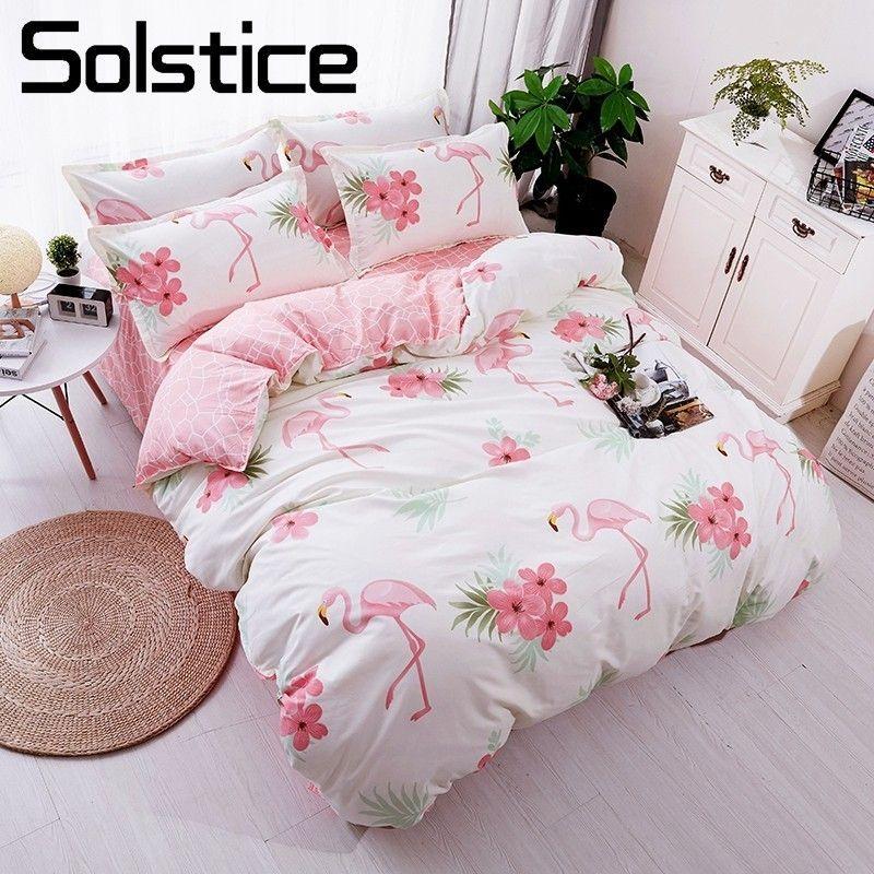 Solstice Home Textile Flamingo Cartoon Lovely Bedding Sets Duvet Cover Pillowcase Sheet Linen Twin Full Queen King Size 3/4Pcs